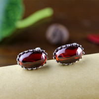 Silver 925 Jewelry Garnet Earring Natural Stone Antique Elegance Clip Earrings For Women Fine Jewelry Aros Mujer Oreja