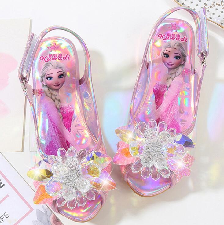 Mädchen Partei schuhe Prinzessin Schuhe Leder Glitter Kristalle Strass Knoten Kinder Schuhe Elsa sneaker kinder Weihnachten geschenk