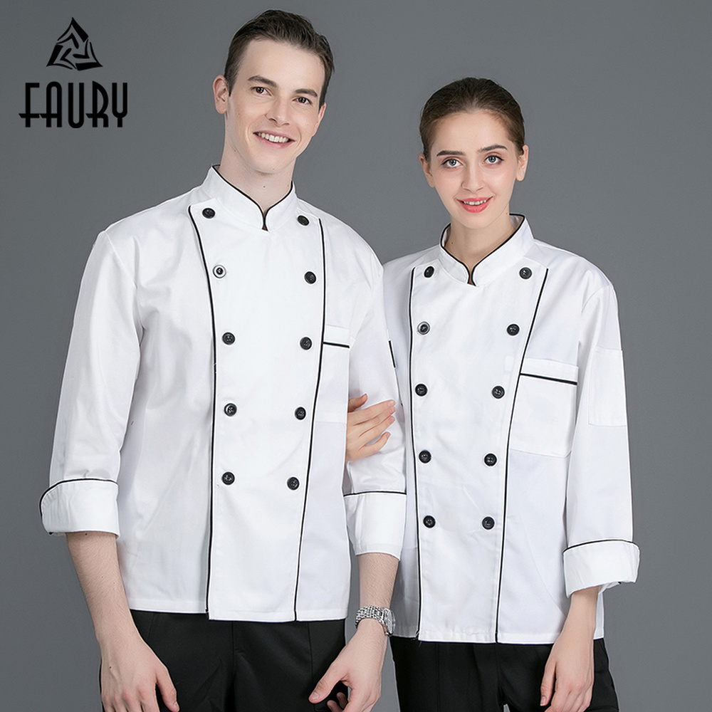 Chef White Kitchen Cooking Clothing Top Restaurant Cozinha Cuisine Canteen Catering Long Sleeve Double Breasted Workwear Jackets