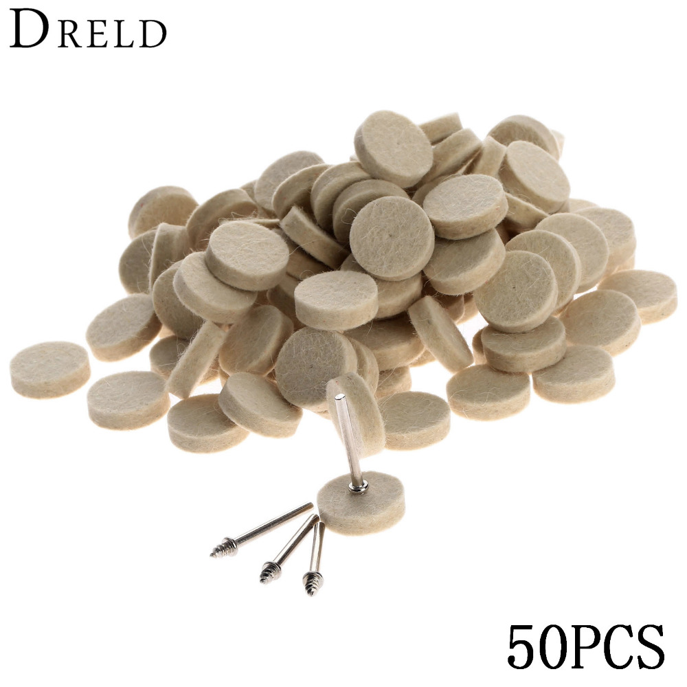 50Pcs 25mm Dremel Accessories Wool Felt Polishing Buffing Wheel Grinding Polishing Pad+2Pcs 3.2 mm Shanks for Dremel Rotary Tool fiber polishing buffing wheel grit nylon abrasive 25mm thickness 7p hardness 32mm id