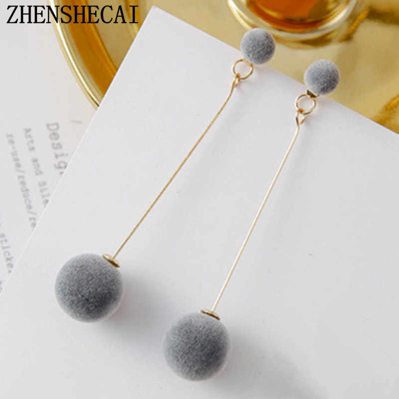 Red Black Grey Fashion Plush Ball Drop Earrings For Women Korean Velvet HOT Tassel Long Earrings Gift Jewelry Statement E0371