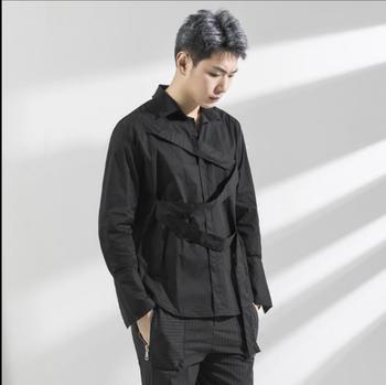 2018 new spring hair stylist fashion shirt men personality Korean version of the woven bandwidth loose long sleeve shirts