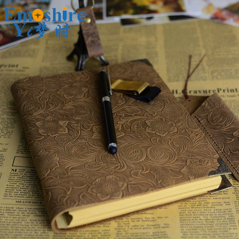 Emoshire Good Quality A4 Copper Edge Leather Business Retro Notepad Imprint Logo Loose-leaf Notebook Leather Journal Diary N120Emoshire Good Quality A4 Copper Edge Leather Business Retro Notepad Imprint Logo Loose-leaf Notebook Leather Journal Diary N120