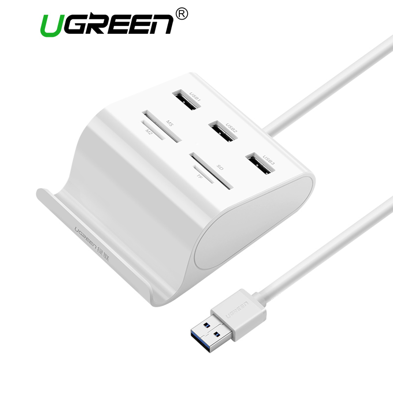 Ugreen All in 1 Card Reader with USB 3.0 HUB with Stand 3 Ports OTG Micro SD TF MS Memory Card Reader for Laptop OTG Card Reader