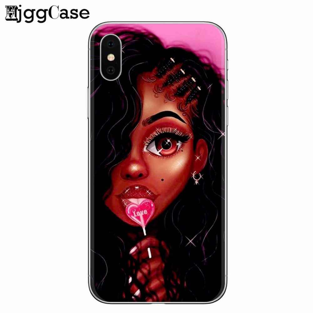Мягкий силиконовый чехол для телефона для девочек афро чехол для iPhone 7 7 Plus 5 5S SE 6 6 S 8 Plus X 2 bunz Melanin Poppin Aba Black women art Case