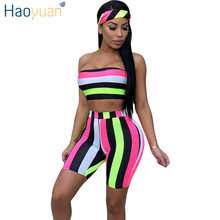 743822fdcd HAOYUAN Striped Sexy Three Piece Set Women Head Scarf+Crop Tops+Bodycon Shorts  Suits Boho Summer Beach Outfits 3 Piece Tracksuit