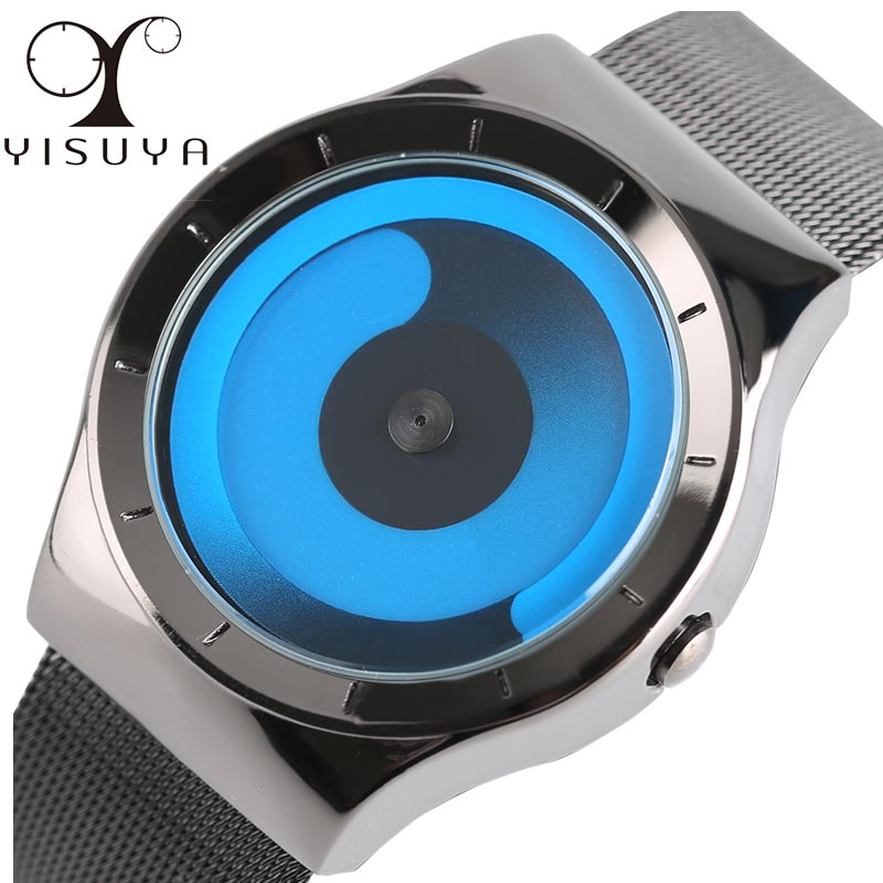 YISUYA Neutral Creative Rotating Pointer Design Men and Women Sports Watch Luxury Steel Mesh Band Fashion Quartz Unisex Relogios hot men women gift enmex brief steel band creative geometric designs floating pointer 3d dail with young fashion quartz watches