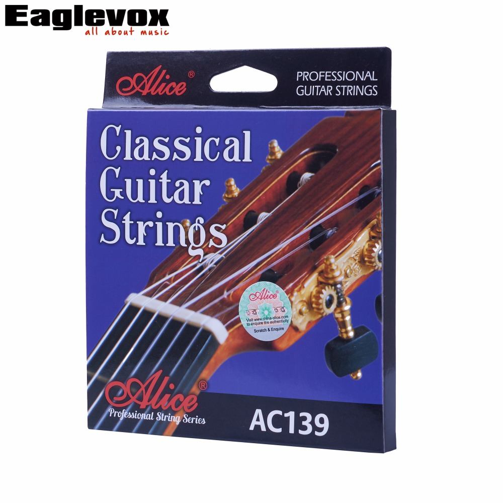 Classical Guitar Strings titanium Nylon Silver-plated 85/15 Bronze Wound 028 0285 inch Alice AC139 3 sets alice aw466 light acoustic guitar strings plated high carbon steel