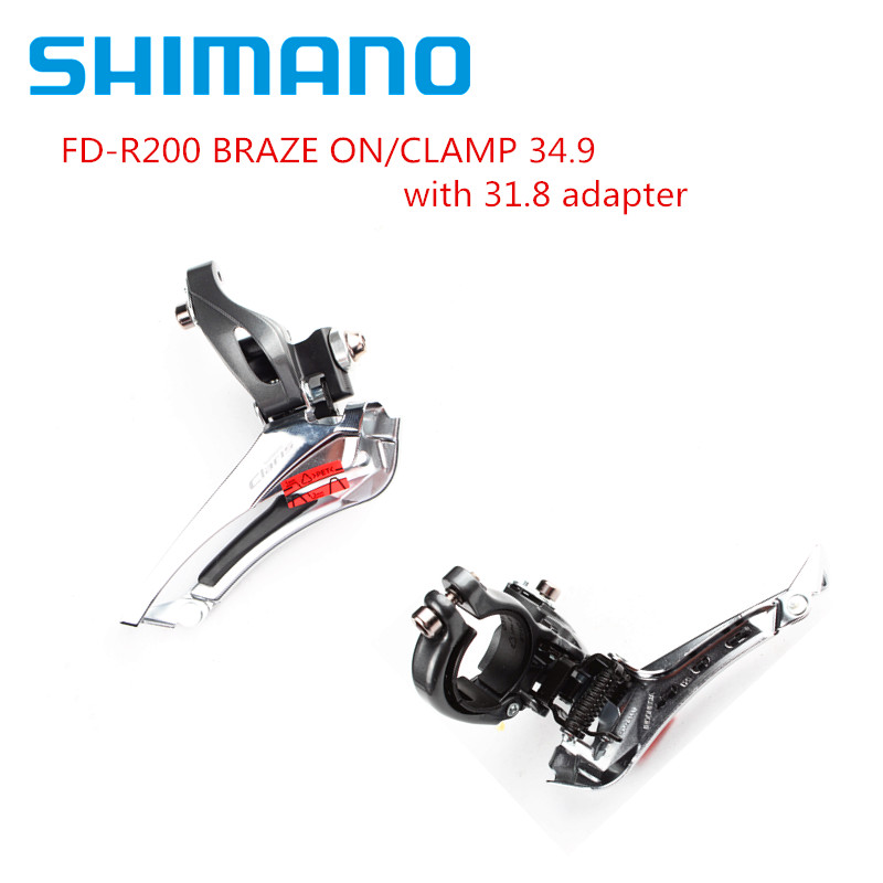 <font><b>Shimano</b></font> <font><b>Claris</b></font> <font><b>R2000</b></font> Front Derailleur Road Bike Bicycle 2x8 Speed Braze on / Clamp 31.8mm Clamp 34.9mm Include 31.8 Adapter image