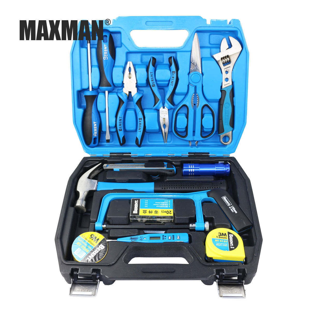MAXMAN 36Pcs Hand Tool Set General Household Hand Tool Kit with Plastic Toolbox Storage Case Pliers Saw Wrench Screwdriver KnifeMAXMAN 36Pcs Hand Tool Set General Household Hand Tool Kit with Plastic Toolbox Storage Case Pliers Saw Wrench Screwdriver Knife