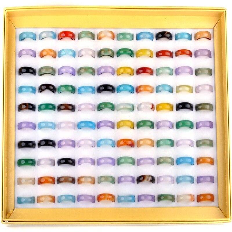 Женское Винтажное кольцо из натурального камня, унисекс, 20 шт./лот, 5-6 мм