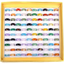 Anel de pedra natural, 20 pçs/lote 5-6mm misto vintage, anel de pedra natural para mulheres, unissex, moda, charme, pedra de dedo, joias presentes atacado