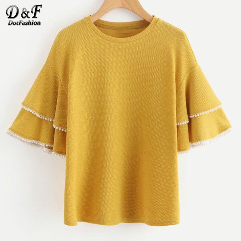 Dotfashion Pearl Trim Layered Trumpet Sleeve Textured Top 2018 Beaded Round Neck Casual Woman Top Yellow Short Sleeve Blouse