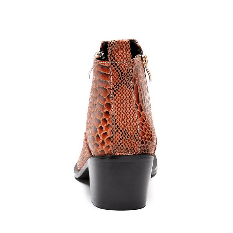 Cm Metal Couro De 6 Sapatos Nova Alto Ankle Boots Dedo Batzuzhi Marrom Homens Hombre Botas Salto Do 5 Dos Primavera Handmade Genuínos 2018 Pé z78xcqwTf