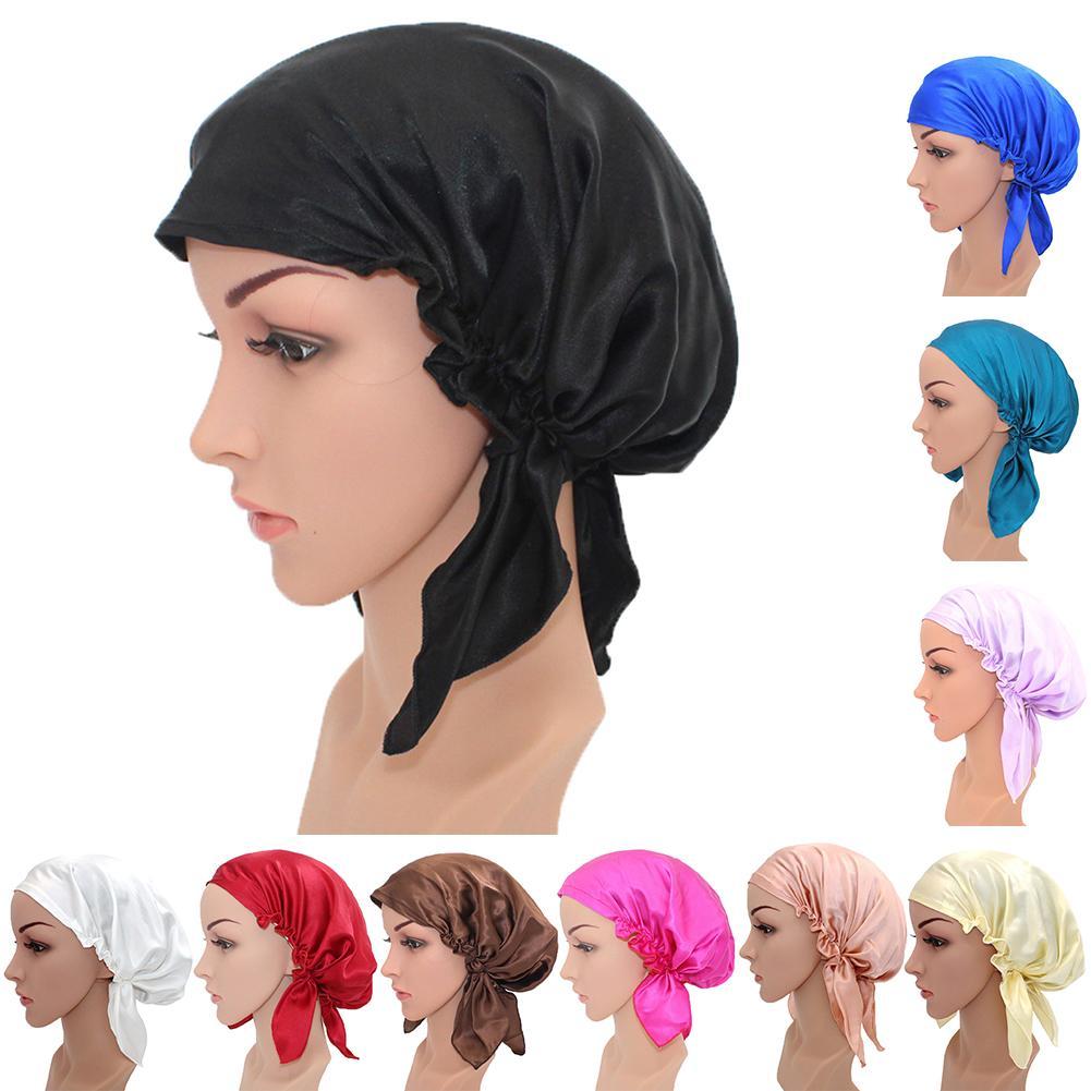 Solid Color Women Sleeping Hat Adjustable Night Cap Satin Silk Wrap Hai