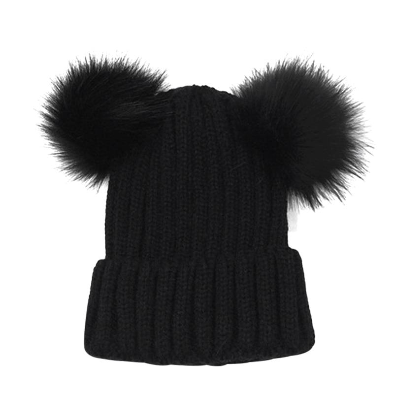 c72146ce755 Mom Kids Faux Fur Double Pom Pom Hat Winter Knitted Thick Warm Striped Caps  2018 Women Baby Unisex Boys Girls Skullies Beanie