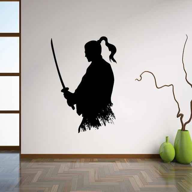 Wall Art Decor Ideas Living Room Modern Images Samurai Katana Decal Ninja Vinyl Sticker Japanese Home Interior