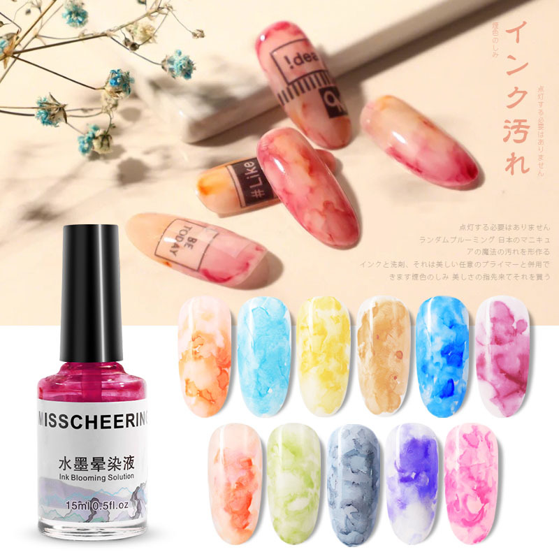 1bottle Ink Nail Polish Blooming polish 12colors Marble Effect DIY Varnish Manicure Decor Art