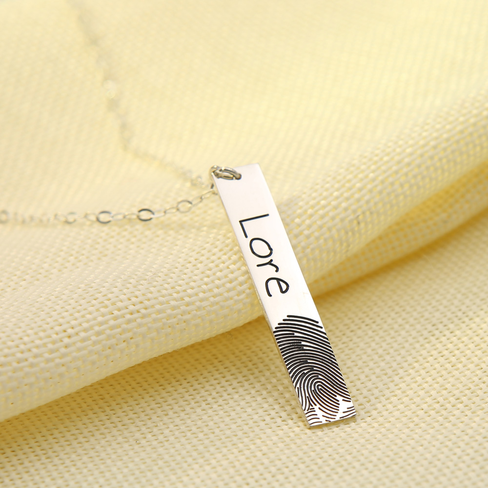 964fcbfcba162 Wholesale 925 Solid Silver Fingerprint Bar Necklace Personalized ...