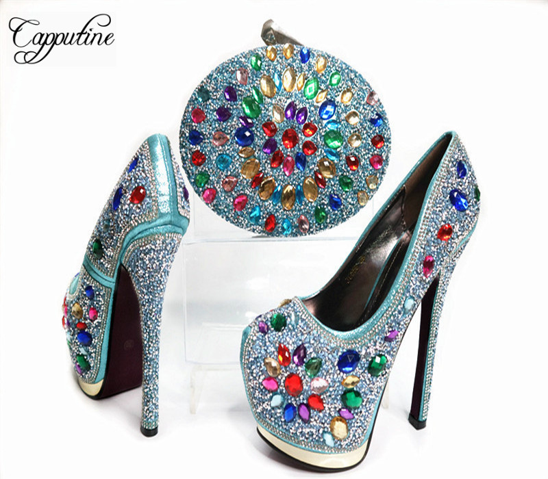 Capputine Summer Style Pumps Shoes And Bag Set Africa Ladies Rhinestone High Heels Shoes And Bag Set For Party Size 38-42 G31  newest summer style woman pumps shoes high quality ladies high heels basic shoes for party free shipping size 37 43