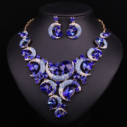 fashion blue crystal indian necklace earrings jewelry sets