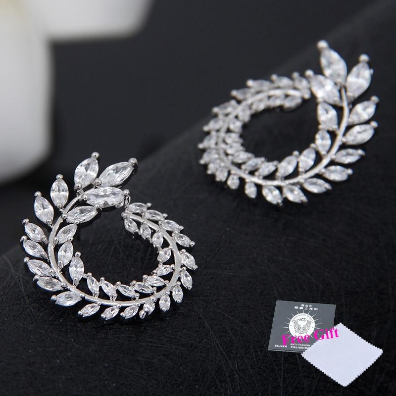 Lüks Marka Yeni Moda Zeytin Şekli AAA + Kübik Zirkon Saplama Küpe - Kostüm mücevherat - Fotoğraf 4