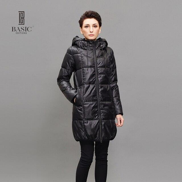 Basic Editions женские зимние Куртки и пиджаки белая утка Подпушки куртка женская с капюшоном Длинные пуховые куртки теплое зимнее пальто Парки ZY14041L