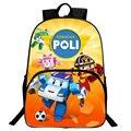 Cute 16 Inch Children Nylon Schoolbag Backpack Cartoon Car Robocar Poli Backpack For Boys Girls School Bag 3D Printing Rucksack