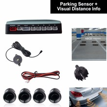 Car Auto Vehicle Visual Backup Radar System with 4 Parking Sensors + Distance Info Video Output + Sound Warning