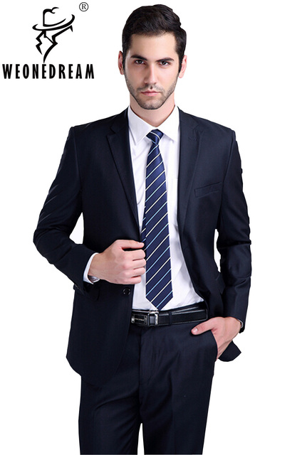 b7f4ad1fcc36 (Jacket + pant + tie) Suit male slim formal groom married men's clothing  wear commercial suits men business suits