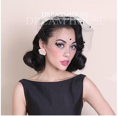 Vintage European style contracted pure manual big mesh veil black hair accessories clothing collocation headwear
