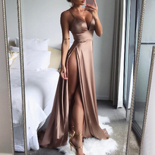 2019 Sexy Spaghetti Strap High Split Maxi Dress Women Solid Color Sleeveless Backless Dress Club Party Evening Long Dress все цены