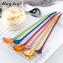 2PCS Colorful Reusable Drinking Straws Spoon Stainless Steel Metal Cocktail Stirring Bar Milk Coffee Tools