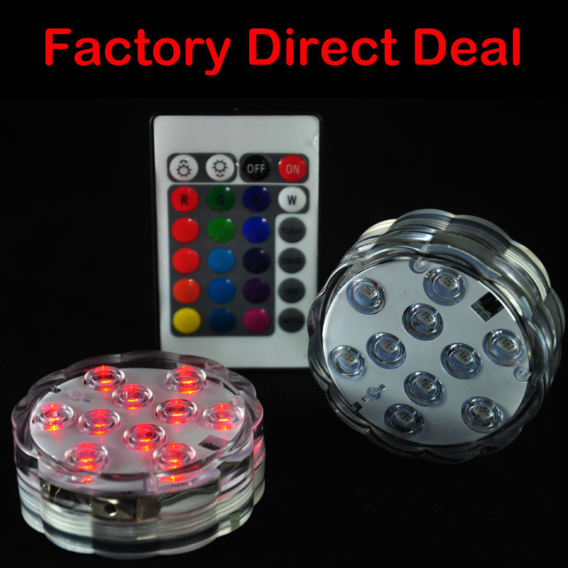 (1piece/ lot) 3AAA Battery Operated RGB Color Changing Submersible LED Lights for Fountains Wedding Decoration Lights W/ Remote