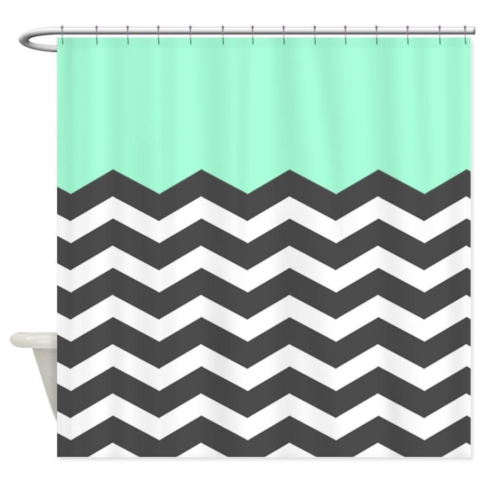 Our House Mint Black White Chevron Decorative Fabric Shower Curtain Set And Floor Mat Non Slip Doormat Rug