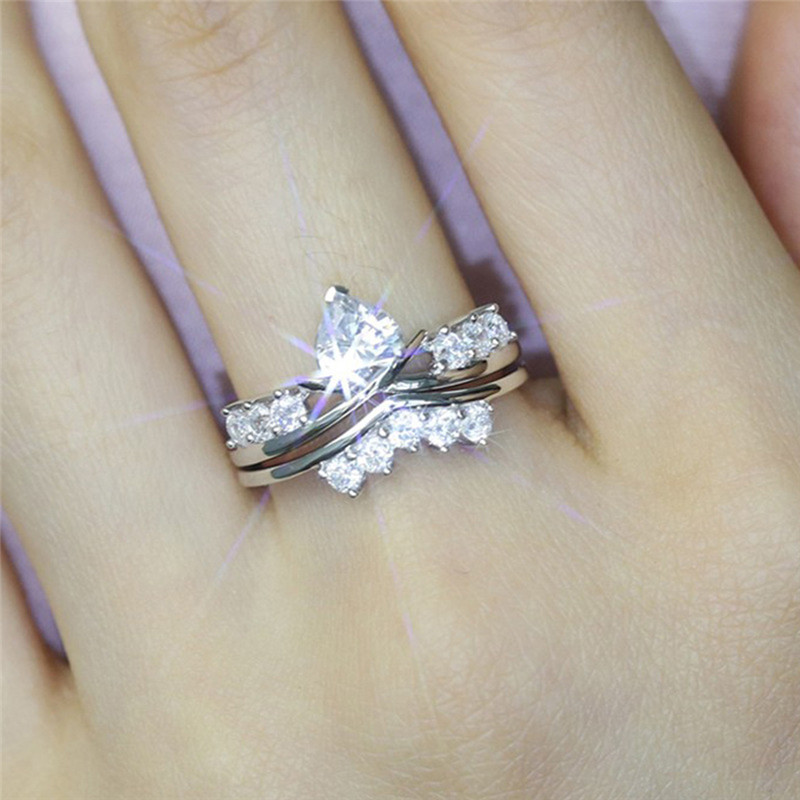 BOAKO Clear Heart CZ Rings Promise Engagement Double Gift For Women Silver Color Pairs Wedding Ring Set for Girls ringen X7-M2