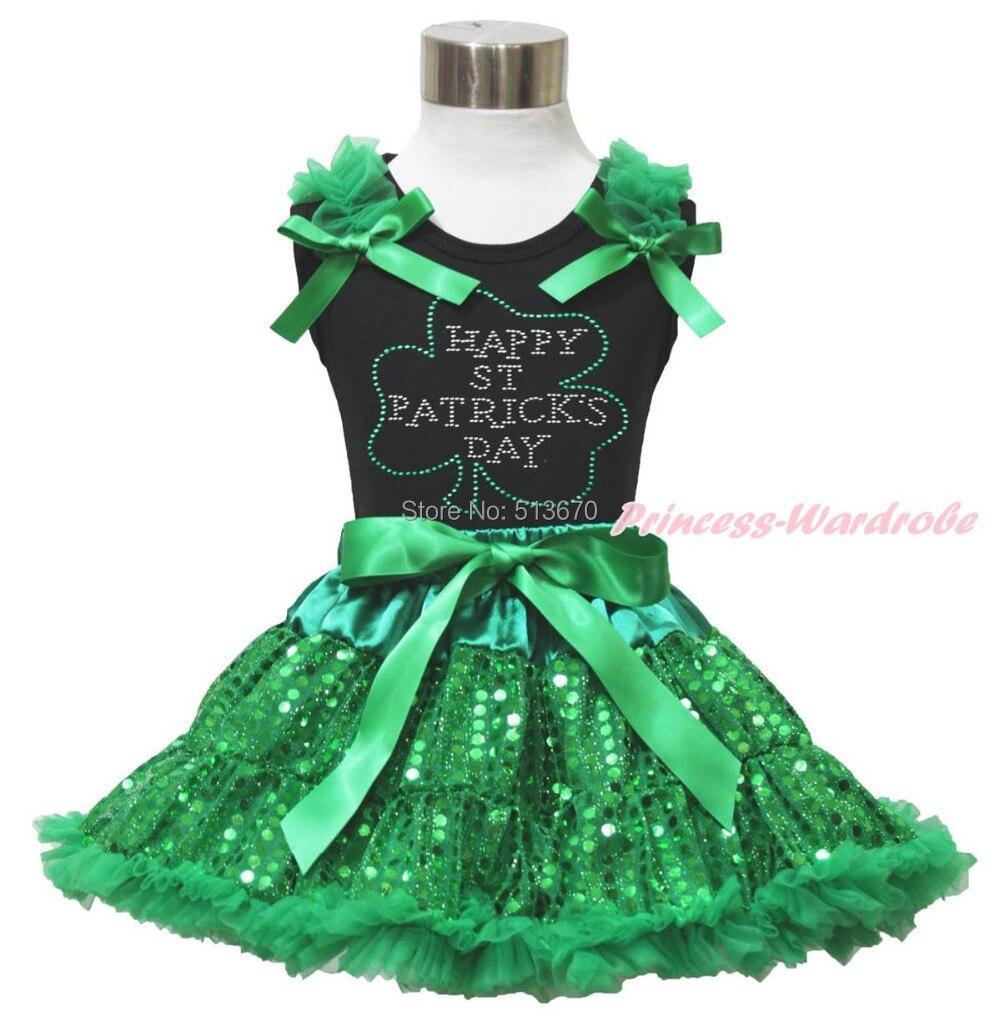 Rhinestone Happy St Patrick's Day Black Top Shirt Bling Green Sequins Skirt 1-8Y MAPSA0438 my 1st st patrick day clover white top green bling sequins girls skirt set 1 8y