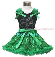 Strass gelukkige st patrick dag black top shirt bling groene pailletten rok 1-8Y MAPSA0438
