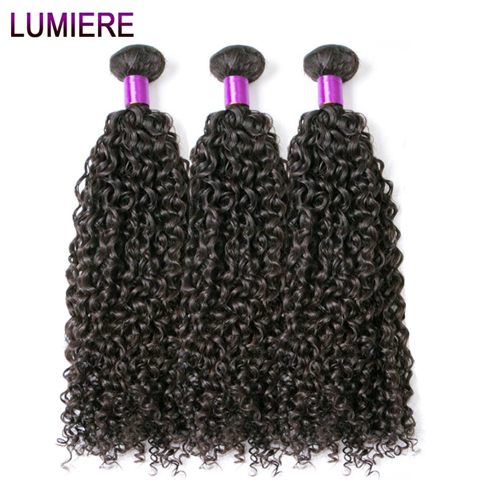 Lumiere Hair Indian Afro Kinky Curly Human Hair Bundles 3 Bundles Human Hair Extensions Natural Color