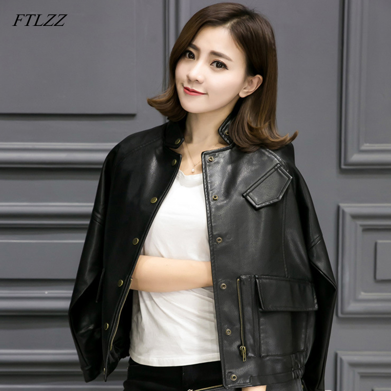 FTLZZ New Faux   Leather   Jacket Spring Autumn Women Loose Short Design Baseball Jacket Motorcycle Pu   Leather   Coats