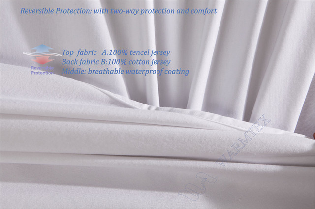 Super King Size 200x200cm 2m Bed Waterproof Reversible Tencel Cotton Mattress Protector Healthy Fabric