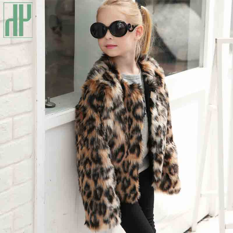 Children's clothing girl Faux Fur Coat Kids Baby Girls Leopard Autumn Winter Jacket Thick Warm Outwear Clothes windbreaker