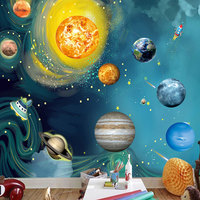 Planets Wall Paper Wall Stickers Decorative Wallpaper 3D Cartoon Planet Solar System Kids Room Bedroom Wall Painting Removable