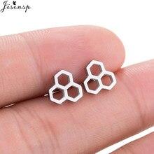 Jisensp-pendientes hexagonales negros para mujer, joyería de moda, regalos, pendientes pequeños de abeja, panal de abeja, pendientes para mujer de moda