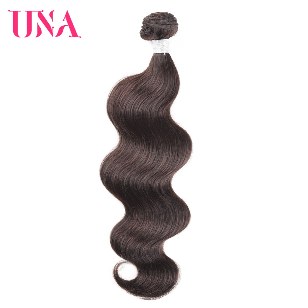 UNA Brasilian Hair Bundles 1 Piece # 2 Brasilian Body Wave Non-Remy - Menneskelig hår (for svart)