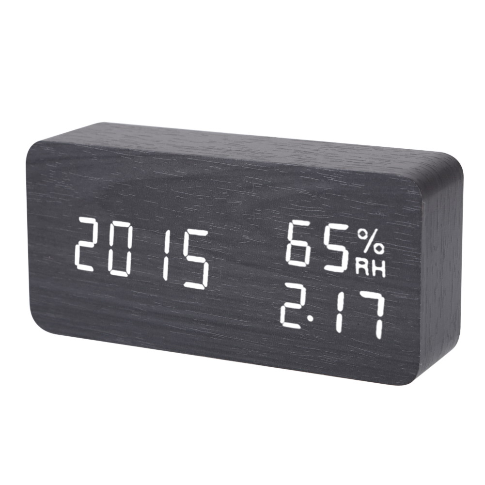 Digital LED Alarm Clock Sound Voice Control Light Digital LED Time Humidity Display Wooden Alarm Clock