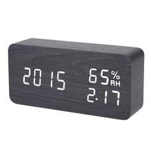 Цифровой светодиодный Будильник звук голоса Управление свет цифровой светодиодный Время Влажность Дисплей деревянный будильник электронные Часы стол
