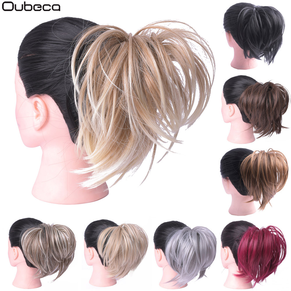 Oubeca Hair-Bun Ponytail-Extension Scrunchies-Wrap Donut-Chignon Elastic-Messy Straight title=