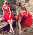 New Arrival Red 2016 Short Homecoming Dresses Lace Cap Sleeves Tiered Ruffles Tulle Plus Size Club Dresses Party Gowns