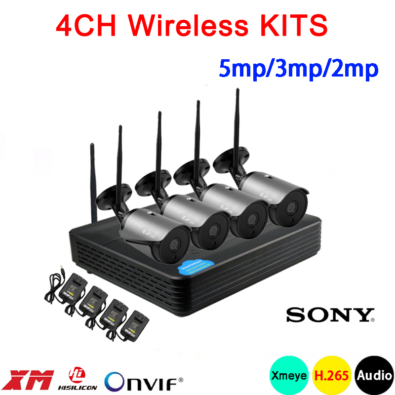5mp/3mp/2mp Black 36pcs Infrared Icsee Waterproof Audio H.265+ 25fps 4CH 4 Channel WIFI Wireless IP Camera Kits Free Shipping